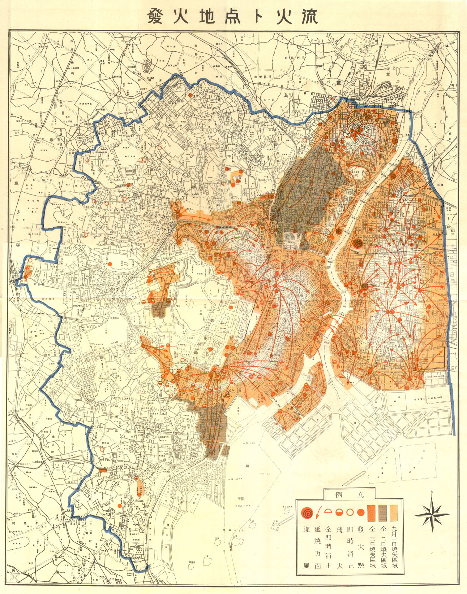 map indicating the areas burned on 1 2 and 3 september 1923
